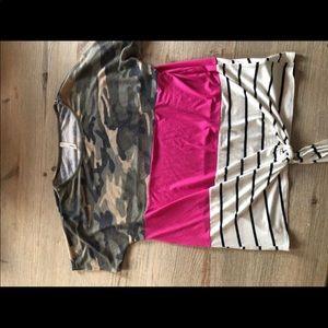 Camo/Stripe Trendy Top